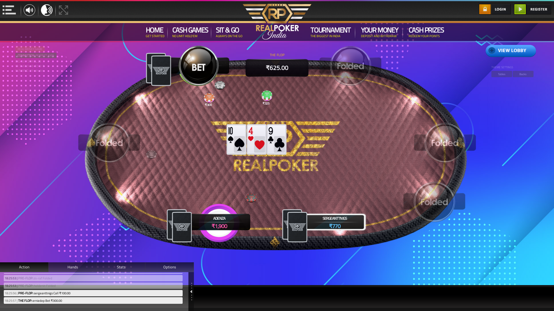 10 player texas holdem table at real poker with the table id 34632448