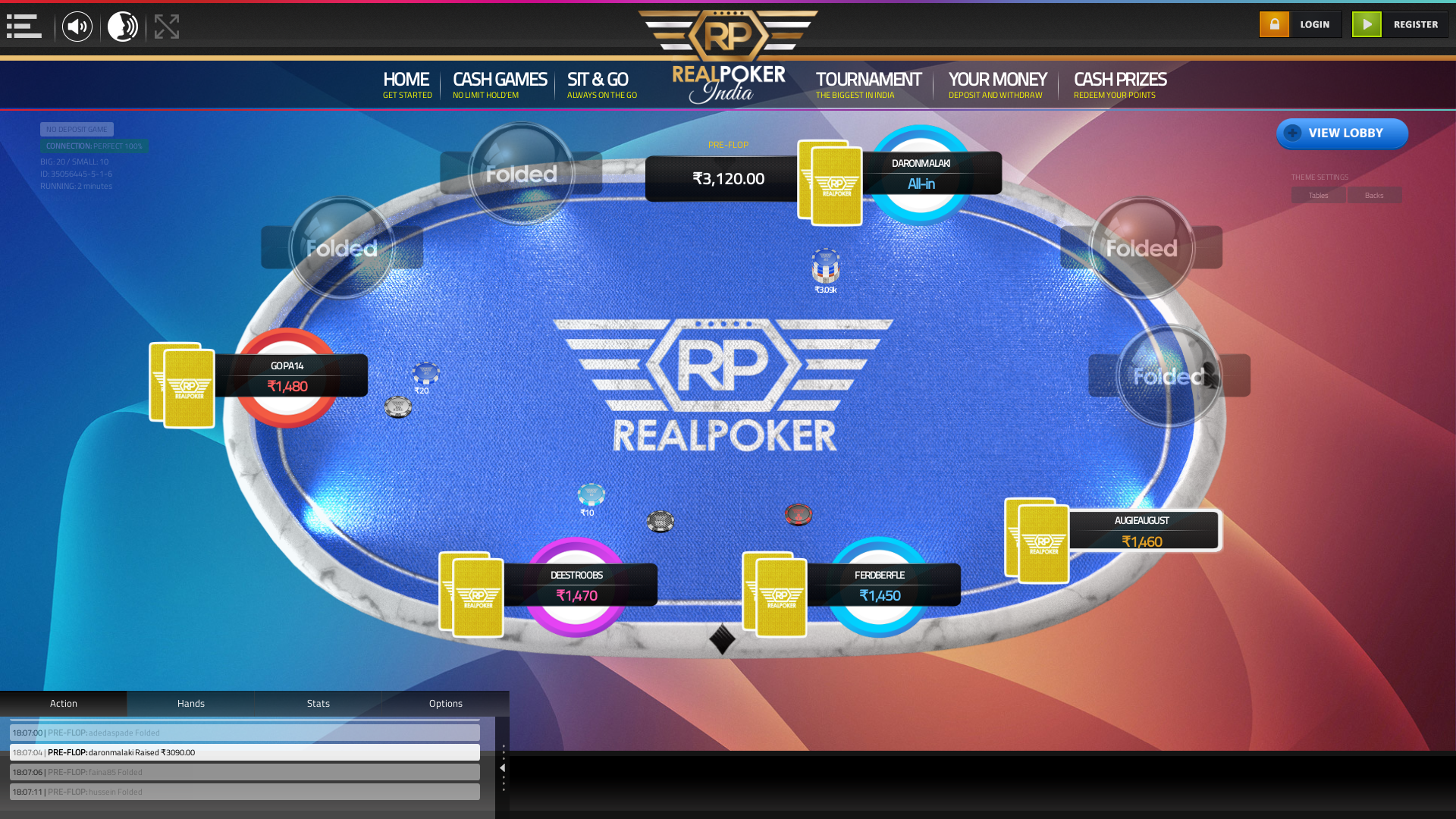 10 player texas holdem table at real poker with the table id 35056445
