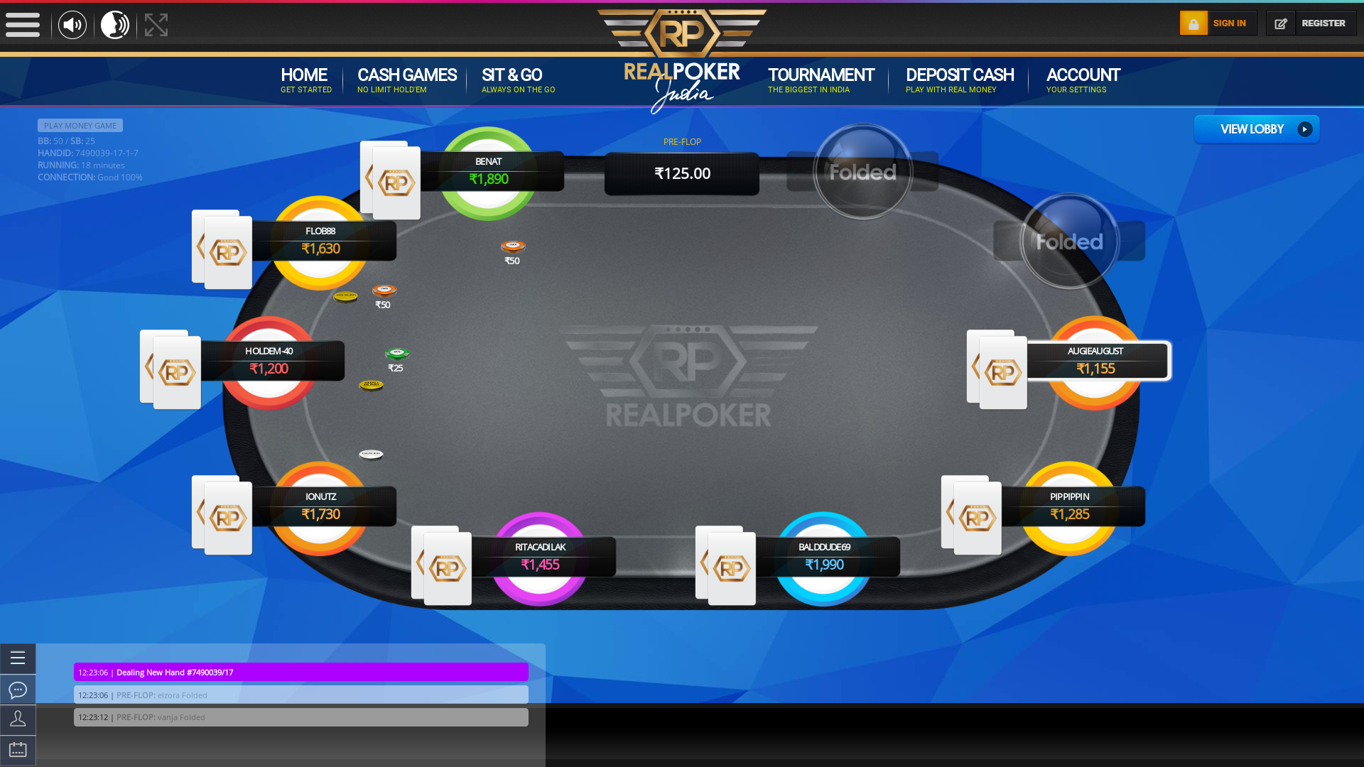10 player texas holdem table at real poker with the table id 7490039