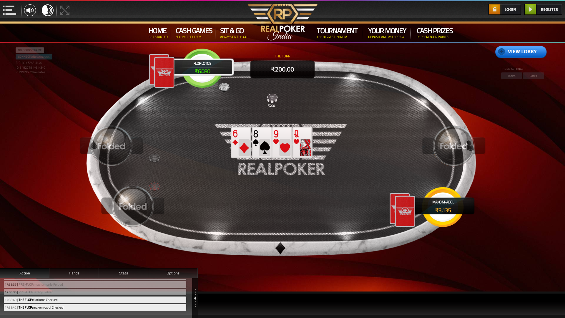 Lower Parel, Mumbai online poker game on a 10 player table in the 28th minute