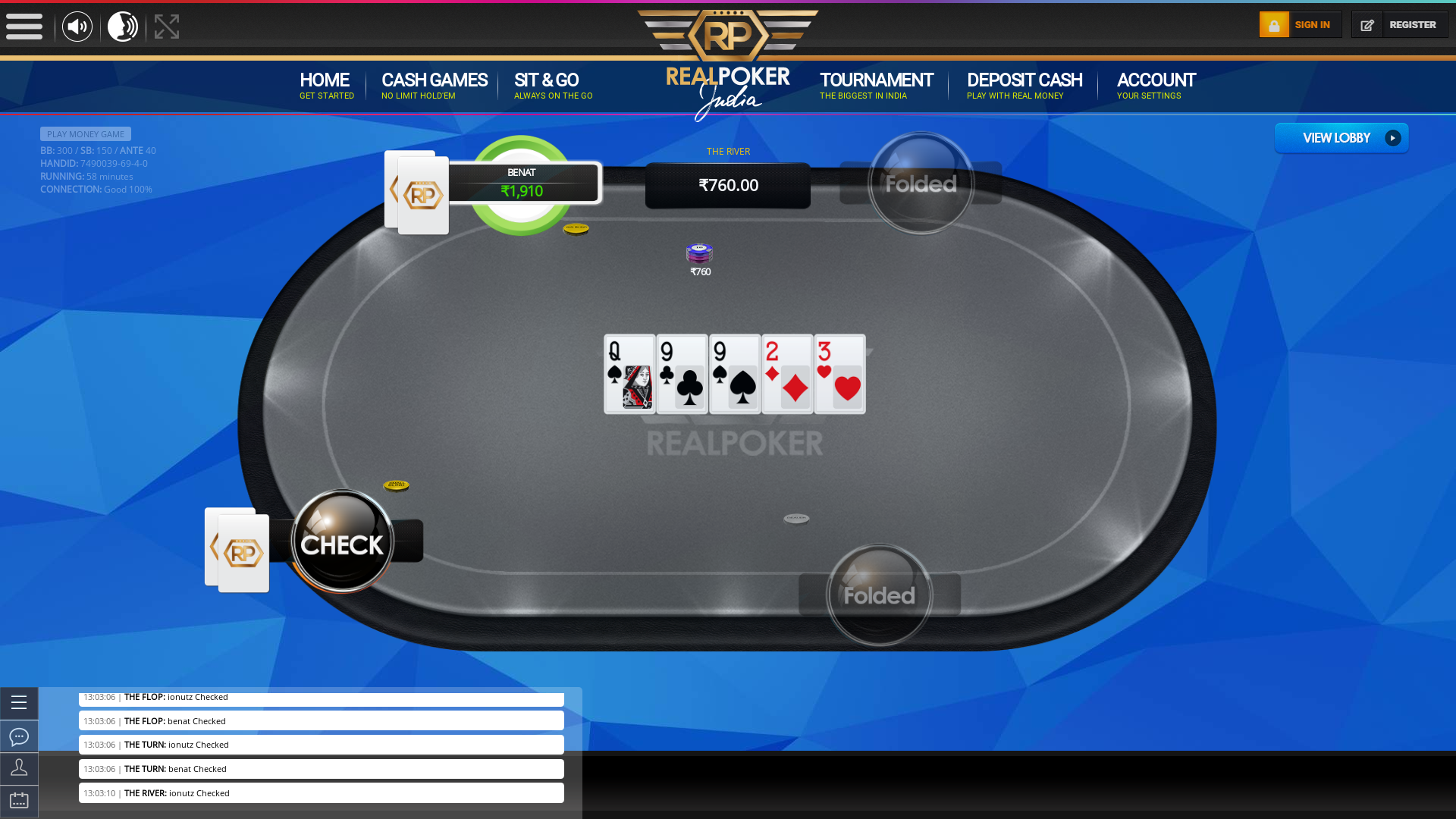 Nandi Hills, Bangalore online poker game on a 10 player table in the 58th minute of the meeting