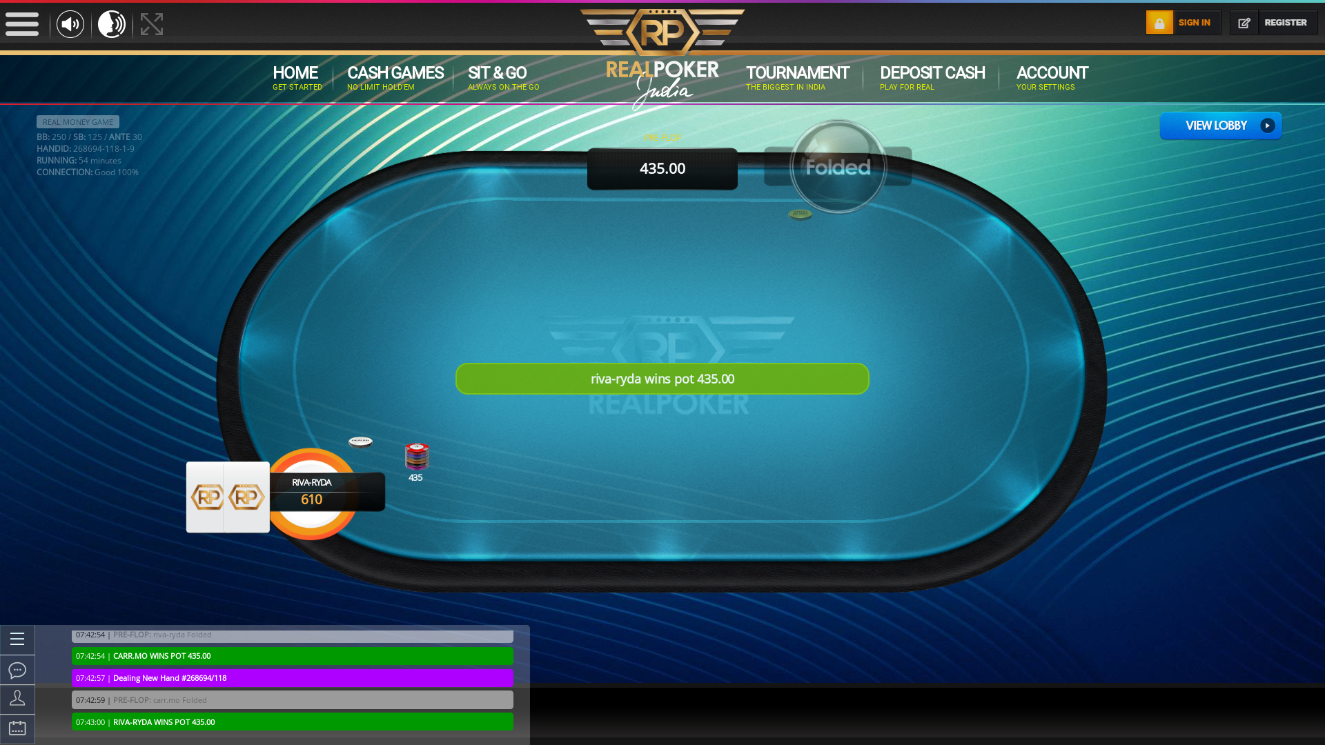 Online poker on a 10 player table in the 54th minute match up