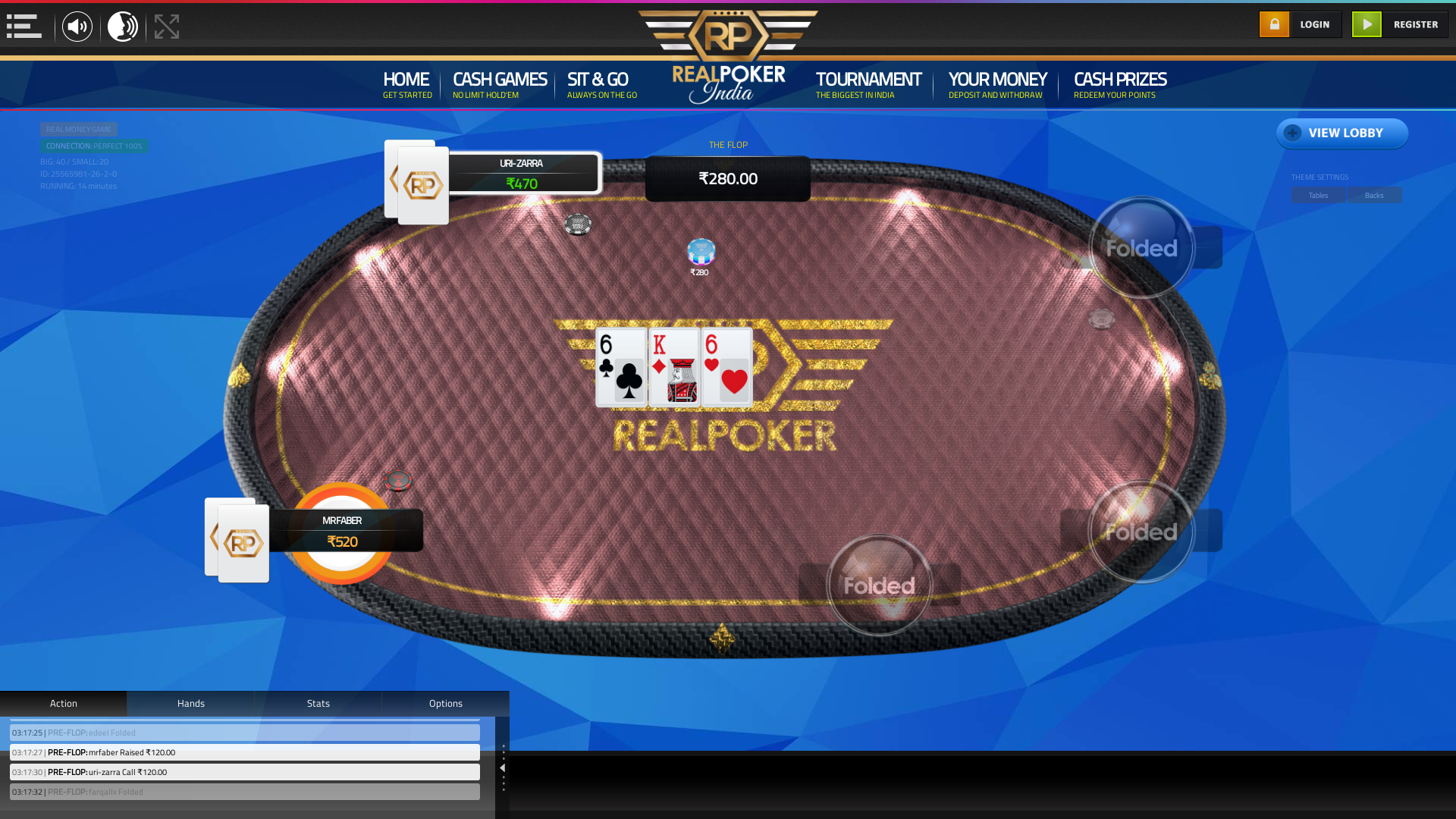 Real indian poker on a 10 player table in the 14th minute of the game