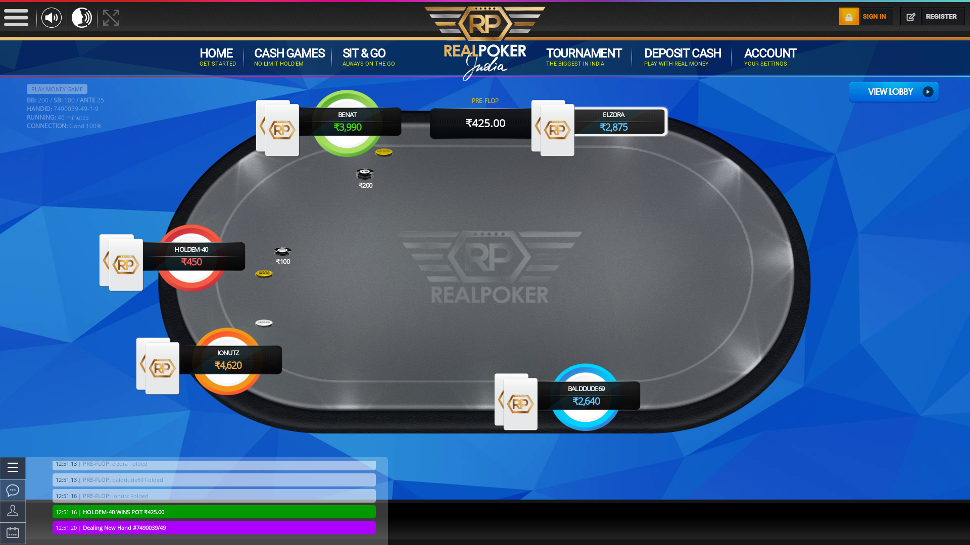 Real poker 10 player table in the 46th minute