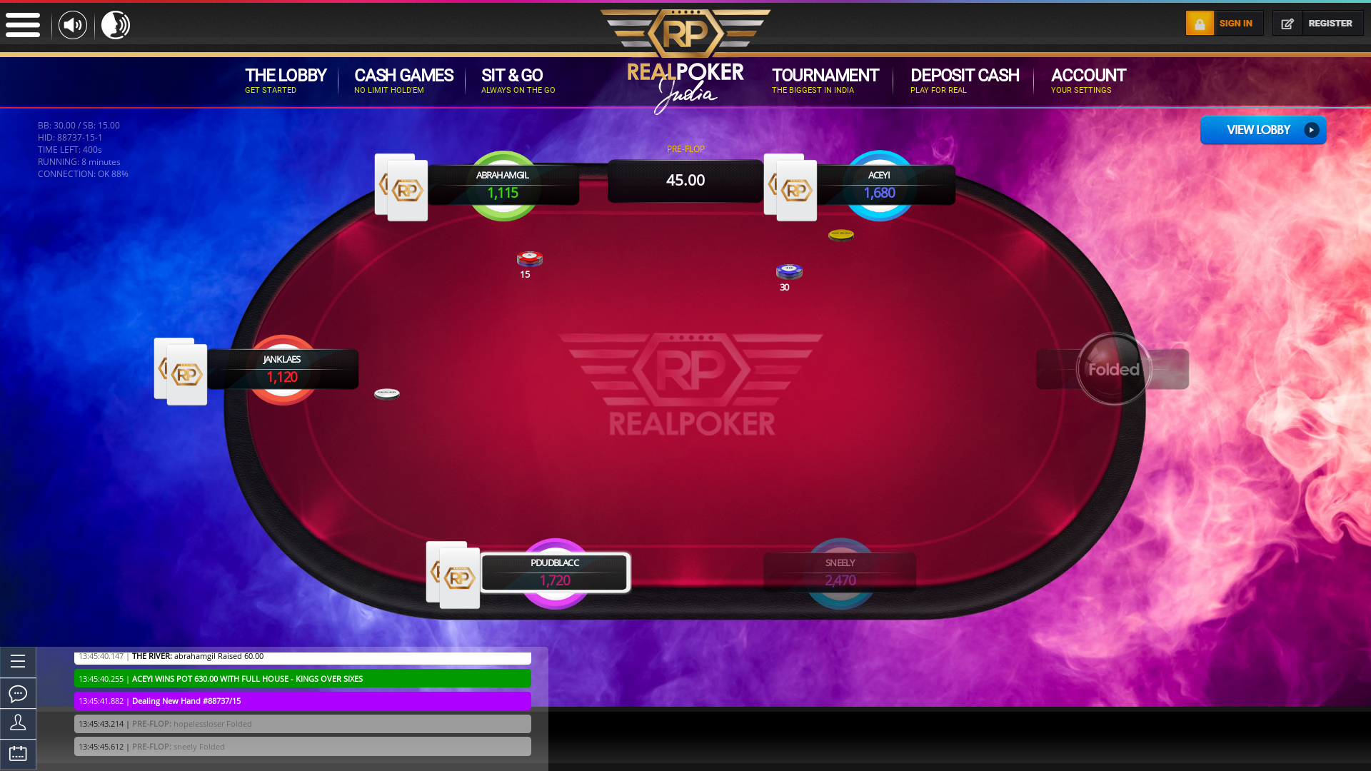 Real Poker India Online Game Table from July