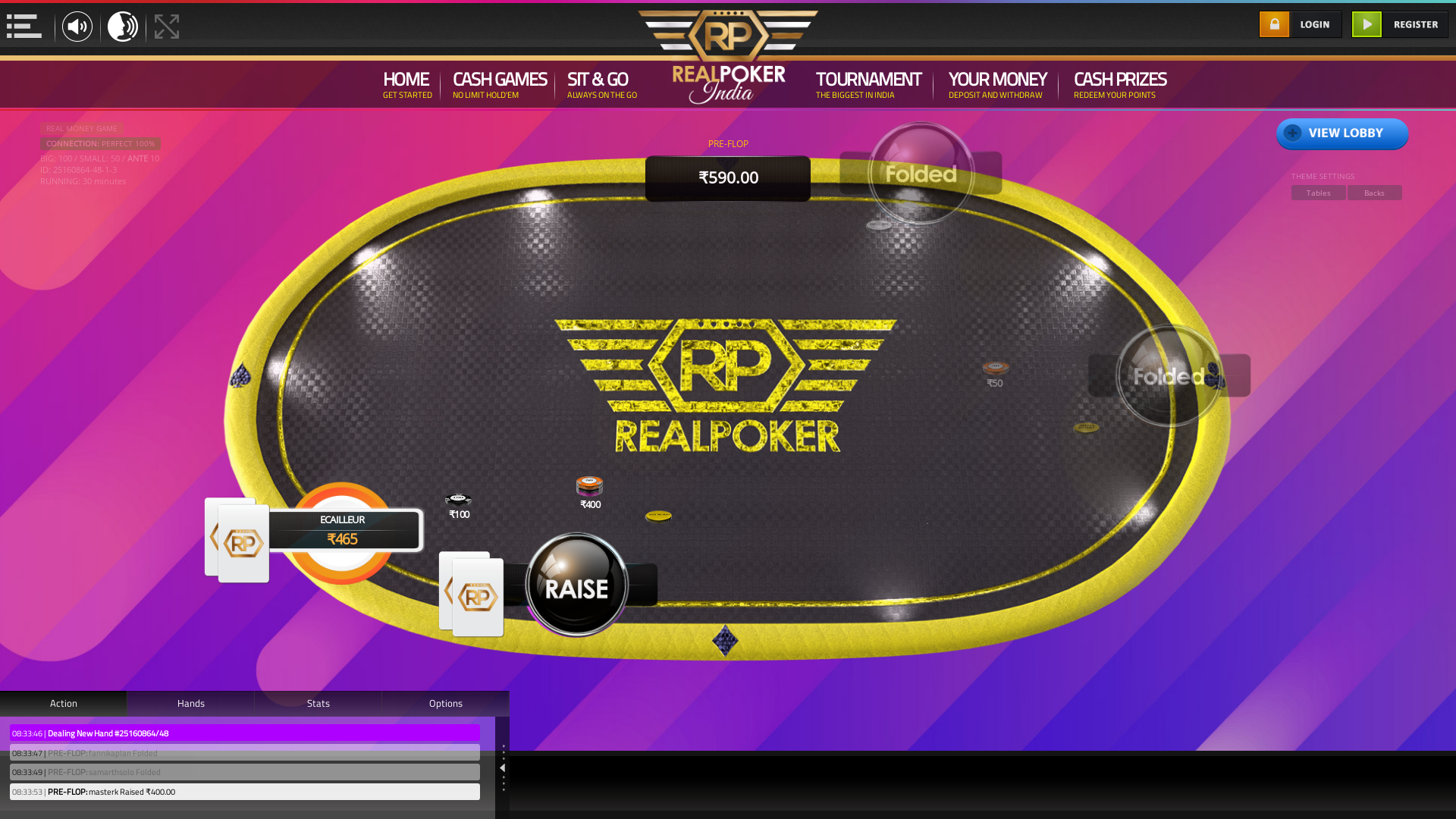 The 47th hand dealt between samarthsolo, fannikaplan, Ecailleur, masterk,  on poker india